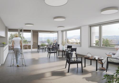 Ein Aufenthaltsraum mit Terrasse, wie für jedes Stockwerk vorgesehen. © Thomas Sponti